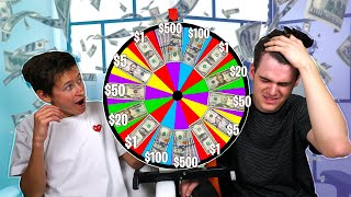 Mystery MONEY SPIN WHEEL Challenge With My LITTLE BROTHER