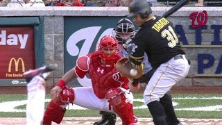 Tabata hit by pitch, breaks perfect game