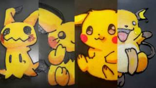 Pancake Art - Pikachu's Evolution - Pichu, Pikachu, Raichu and Mimikyu???