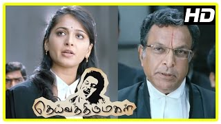 Deiva Thirumagal Tamil movie   scenes   Anushka defends Vikram against Nassar   Santhanam