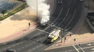 Car fire in Dubai, Jumeirah Lakes Tower (JLT) March 4 2015