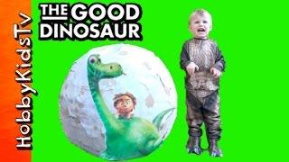 World's Biggest Good Dinosaur Surprise Egg! T-Rex Spot + Arlo Pixar Butch HobbyKidsTV