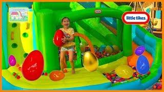 GIANT SURPRISE EGGS HUNT on Huge Inflatable Water Slide + Golden Surprise Egg Disney Cars Toys