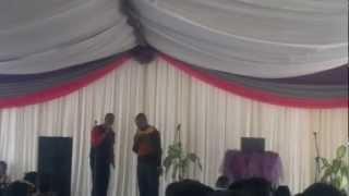 Pst Ntokozo Zitha preaching at Mlilo Alliance with Pst J S Dube