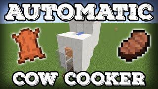 Minecraft Tutorial - Automatic Cow Cooker - Leather Farm - Steak Farm - Compact(Minecraft 1.12+)