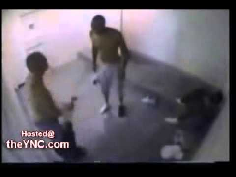 Skinhead in the same Cell with a 6 Foot Black Gangster Skinhead Loses