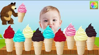 Learn Colors with Ice Cream for Children, Toddlers - Learn Colours for Kids with Ice Cream Baby Cry