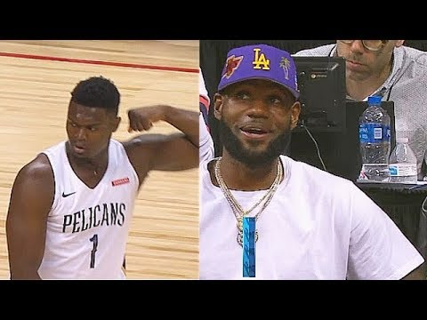 Zion Williamson NBA Debut With LeBron James Watching Pelicans vs Knicks 2019 NBA Summer League