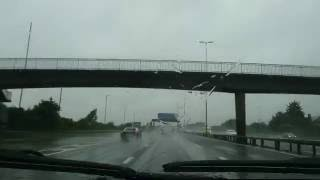 driving to southampton in the rain on the M27