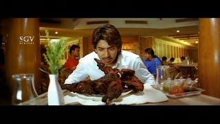 Prajwal Devaraj order Turkey Chicken | Aindritha Ray | Kannada Comedy Scene |Nannavanu Kannada Movie