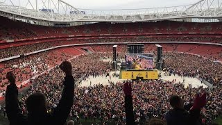 Final minutes of the 2015 FA Cup Final live screening in the Emirates Stadium. (Pitch invasion)