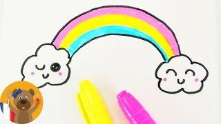 Dessiner un arc-en-ciel KAWAII  DIY | adorable arc-en-ciel multicolore | Carte d'anniversaire