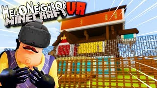 CAN WE ESCAPE THE NEIGHBOR'S PRISON IN VR MINECRAFT?! | Hello Neighbor Minecraft VR Gameplay