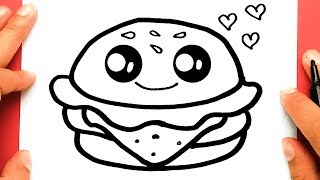 HOW TO DRAW A CUTE HAMBURGER, DRAW CUTE THINGS