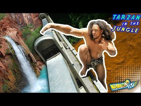 WATERFALL vs. TARZAN JUNGLE MONKEY MAN TAKES A BATH 4 Bananas KIDDin Me TV