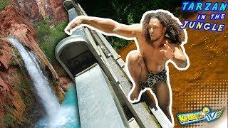 WATERFALL vs. TARZAN!!  JUNGLE MONKEY MAN TAKES A BATH 4 Bananas || KIDDin Me TV