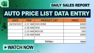 How to Create Dynamic Dropdown List With Auto Price List Data Entry in MS Excel 2016