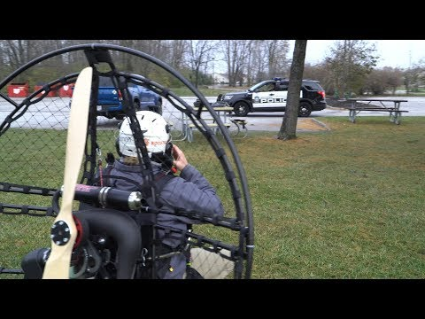 Paramotor noob tries to fly failed launches police persistence pays off 6th flight 4k.