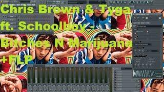 Chris Brown &Tyga Feat. ScHoolboy Q - Bitches N Marijuana FL Studio Remake Tutorial + FLP