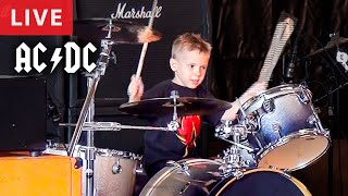 THUNDERSTRUCK - LIVE (5 year old Drummer) Avery Drummer Molek & ADHD