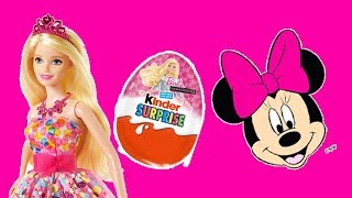 Barbie Dolls surprise eggs unboxing - Minnie mouse kinder surprise eggs and spiderman toy