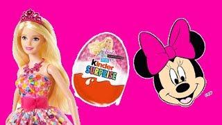 Barbie Dolls surprise eggs unboxing - Minnie mouse kinder surprise eggs and spiderman toy