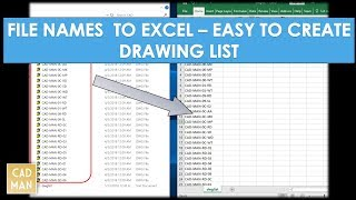 File Names to Excel from Folder  -  (Drawing List)