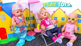 Baby Doll Swim Mermaid & Kitchen toys play Baby Born dolls