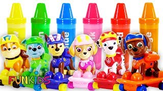 Learning with Crayon Color Surprise Paw Patrol Skateboards & Micky Mouse Weebles