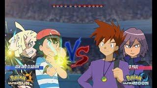 Pokemon Battle USUM: Alola Ash and Gladion Vs Gary and Paul