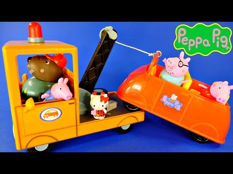 Peppa Pig Grandpa Dog's Tow Truck Wrecker Play Doh Ice Cream with Peppa's Family