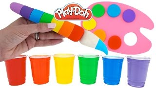 Learn Rainbow Colors with Play Doh Paint Palette and Water Paint * Fun & Easy Play * RainbowLearning