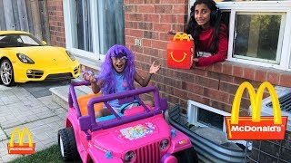 McDonalds Drive Thru Prank!! Power Wheels Ride On Car for Kids Pretend Play