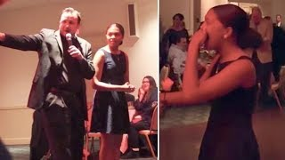 Teen attends father-daughter dance with uncle—totally unaware who's watching her from outside