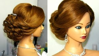 Bridal updo. Romantic hairstyle for  medium hair.