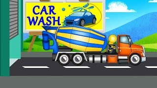 Cement Mixer Truck | Car Wash Videos For Baby & Toddlers | Kids car wash