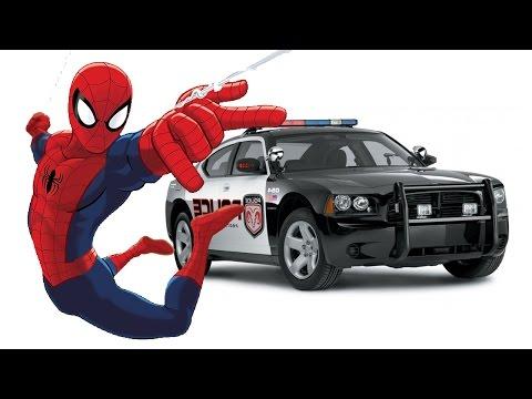 Цветные полицейские джипы машины автомобили мультфильм для детей человек паук детская игра смотреть