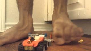 Firefighter man and atv feet crush toy