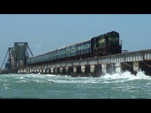 Train over Pamban bridge crossing Palk Strait to Rameswaram.