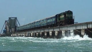 Train over Pamban bridge crossing Palk Strait to Rameswaram.