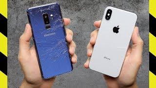 Galaxy S9+ vs. iPhone X Drop Test!