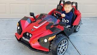 Toddler Unbox, Assemble, & Drive Peg Perego Polaris Slingshot 12V Battery Electric Ride-On Toy Car