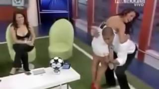 Extremely Hot Girl with Nice Boobs on a live TV Show