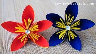 How to Make an Easy Origami Flower - DIY Tutorial for 5 Petal 6 Petals Folded Flowers Kusudama
