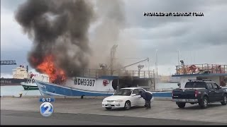 Boat catches fire at Pier 38