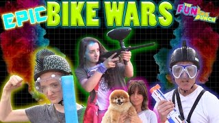 EPIC BIKE WAR Challenge! FUNkee Bunch Family Battle's w/ Weapons to The Finish Line!!