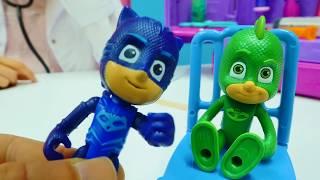 Çizgi film kahramanları ve #PjMask oyuncakları. Kertenkele çocuk hasta oluyor ❄️🍦. #Doktoroyunu.