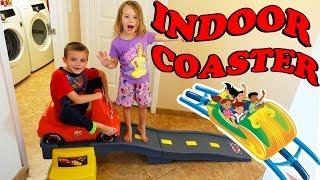 INDOOR ROLLER COASTER!!! Riding a Cars Lightning McQueen Step 2 Kids Coaster Inside! Crazy Kids