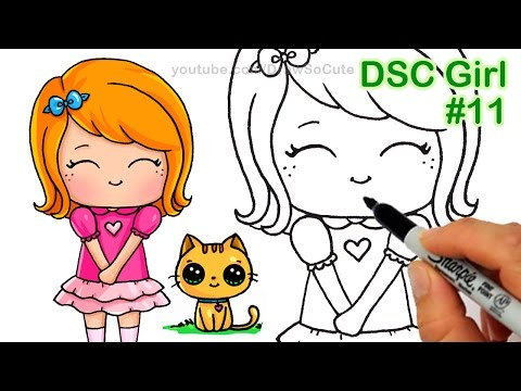 How To Draw Chibi Girl And Kitten Step By Step Cute Daikhlo