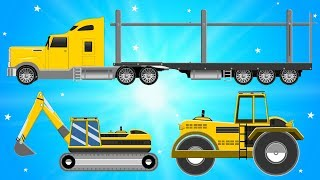 Car Transport Truck Carrying Bulldozer And Excavator for Kids Videos - Children Cartoons